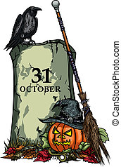 Illustration Halloween Symbols Pumpkin Jack-o-lantern, Tomb, Raven, Witches Hat and Broom, on the fallen leaves, vector graphic