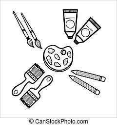 Illustration hand draw set equipment for drawing