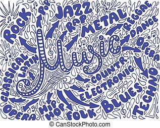 illustration., hand-drawn, sketchy, notizbuch, musik, doodles.