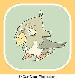Illustration hand drawn vector retro cartoon bird on flat square background.