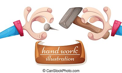 illustration., hand, -, spijker, spotprent, hamer