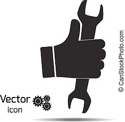 illustration., hand, vektor, skiftnyckel, holdingen, silhouette., ikon