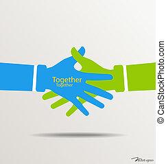 illustration., handdruk, vector, teamwork, handen, logo.