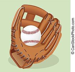 illustration., handschoen, realistisch, vector, honkbal,...