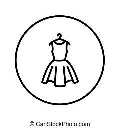 illustration., hanger., editable, linha., vetorial, magra, icon., vestido