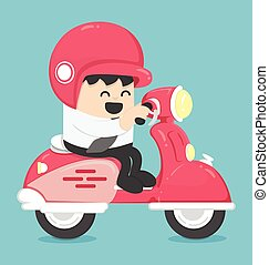illustration Happy Businessman with scooter