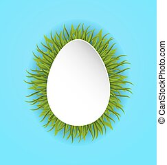 Happy Easter paper card in form egg with green grass, copy space for your text
