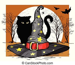 illustration., hat., concept., vettore, mago, gatto, halloween