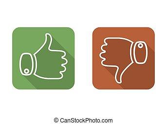 illustration., haut, bas, vecteur, icon., pouce