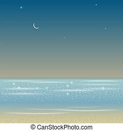 illustration, hav, landskap, natt