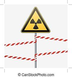 illustration., hazards., 放射, bands., 印, 棒, ベクトル, 警告