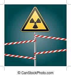 illustration., hazards., radiation, bands., signe, poteau, ...