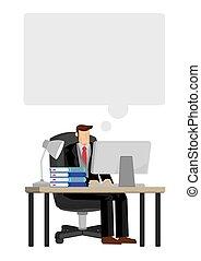 illustration., head., discorso, vuoto, cima, suo, lavorativo, businessman., uomo affari, isolato, pensare, scrivania, concetto, vettore, bolla, computer