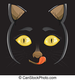 illustration. head of a black cat