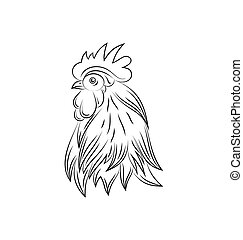 Head of Rooster, Hand Drawn Style