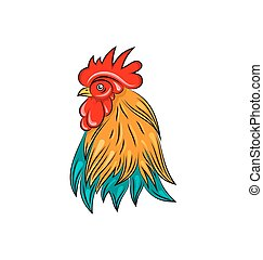 Head of Rooster, Hand Drawn Style, Colorful Cock