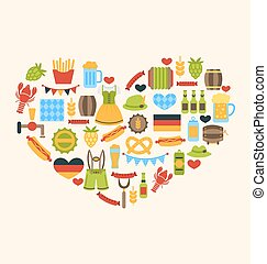 Heart made in Oktoberfest Traditional Symbols