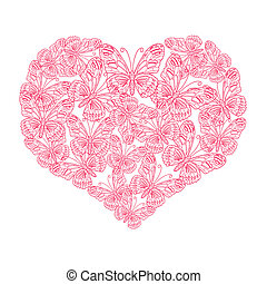 illustration heart of butterflies on white background