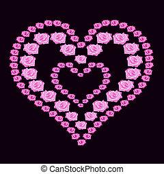 illustration heart of pink roses on dark background