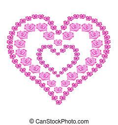 illustration heart of pink roses on white background