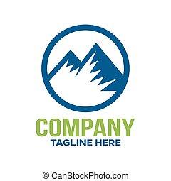 illustration., hegyek, modern, vektor, logo.
