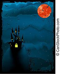 illustration., hemsökt av spöken, halloween, eps, tid, 8