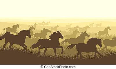 Illustration herd of horses.