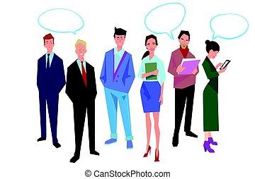 illustration., hivatal, clothes., ügy, osztályvezető, dolgozók, vektor, emberek, kényelmes, munkás, elszigetelt, design., csoport, bubble., beszéd, white., icons.