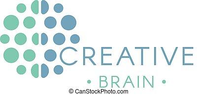 illustration., hjärna, logotype., logo., abstrakt, idé, ...