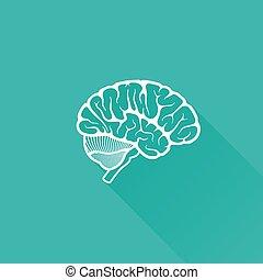 illustration, hjärna, vektor, skugga, årgång, mänsklig, länge