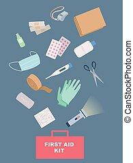 illustration, hjælpemiddel, udstyr, først