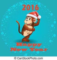 illustration holiday card with a dancing monkey