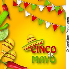 Holiday Celebration Banner for Cinco De Mayo with Chili Pepper, Sombrero Hat, Maracas, Piece of Lime, Cactus