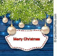 Holiday Greeting Postcard with Golden Balls