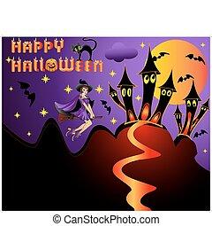 illustration holiday  halloween witch on broom