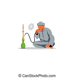 illustration., hombres, árabe, vector, fumar, shisha.