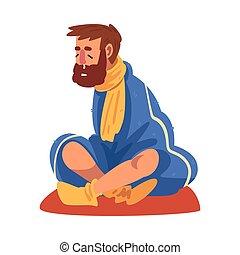 illustration, homme, dessin animé, chaussettes, type, écharpe, tricoté, liquide, séance, grippe, porter, vecteur, plancher, malade, nez, plaid, emballé
