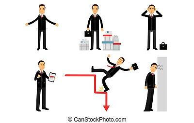 illustration homme, financier, jeté détritus, blanc, vecteur, papier, échecs, effondrement, compagnie, travail, isolé, refusals, fond, ensemble
