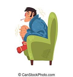 illustration, homme, thermomètre, chaussettes, type, dessin animé, tricoté, température, séance, grippe, porter, vecteur, malheureux, malade, plaid, fauteuil, emballé, mesurer