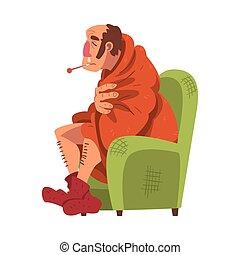 illustration, homme, thermomètre, chaussettes, type, dessin animé, tricoté, température, séance, grippe, porter, vecteur, malade, plaid, fauteuil, emballé, mesurer