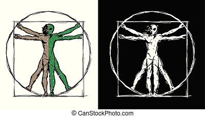 illustration homme, vecteur, ovnis, vitruvian, étranger, ...