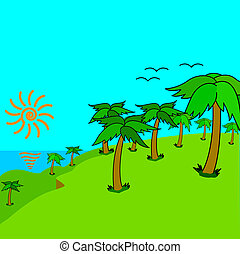 illustration., horgonykapák, sziget, tropikus, vektor, sunset.