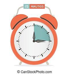illustration, horloge, -, minutes, quinze, vecteur, montre, arrêt, reveil