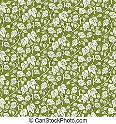 illustration), houblon, modèle, feuilles, (vintage, vecteur, fond, gravé