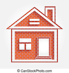 house on brick wall - illustration house on brick wall with...