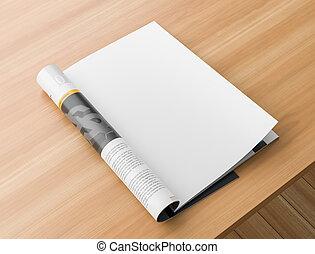 illustration., houten, pagina, catalogus, op, realistisch, magazine, mockups., leeg, tafel., of, spotten, 3d