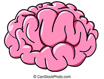 illustration human brain in profile cartoon