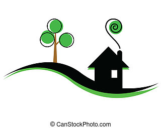 illustration, hus, enkel