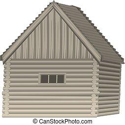 illustration, hus, eps, trä, vektor, 10