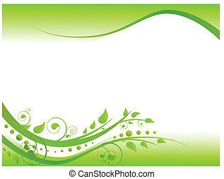 illustration, i, blomstret grænse, ind, grønne